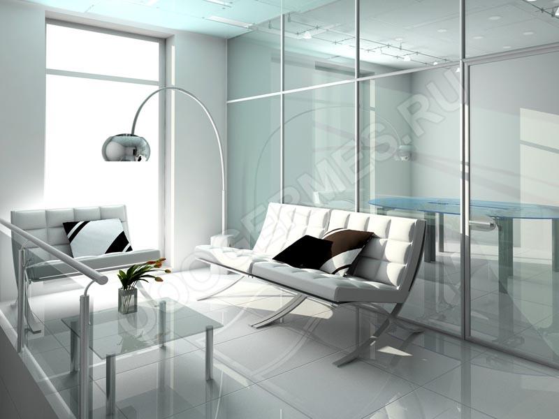 Каркасная стеклянная перегородка в интерьере хай-тек