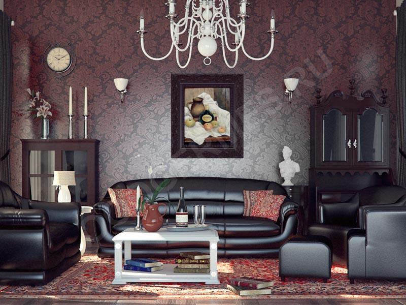 Использование обоев в гостиной классического интерьера