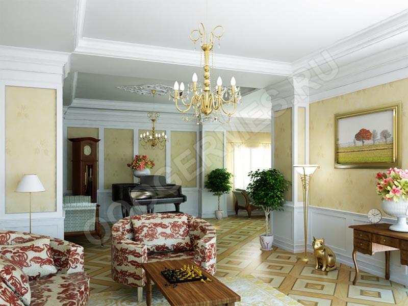 Оформление гостиной в сочетаннии белого и золотого