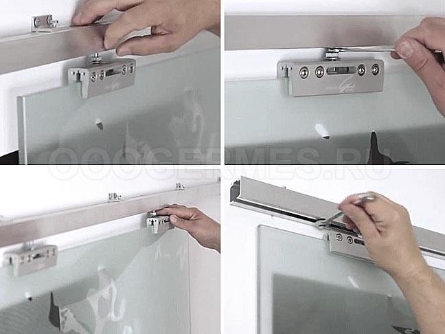 Так стекло с зажимами соединяется с роликами