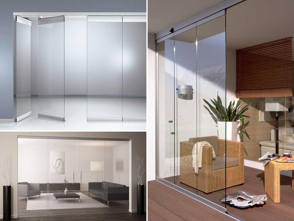 Домашние раздвижные стеклянные перегородки
