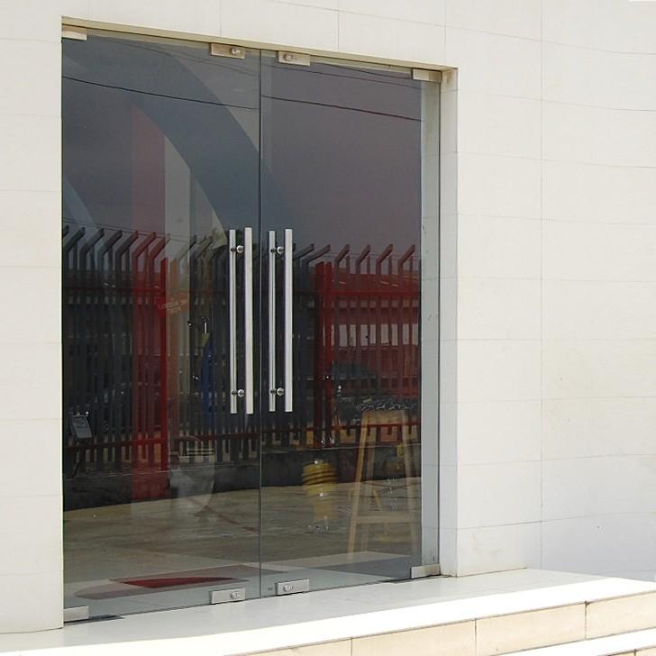 Стеклянные входные маятниковые двери
