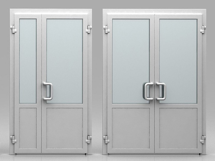 Двери в алюминиевом профиле с комбинированным заполнением