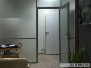 Алюминиевая перегородка с дверью