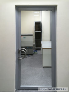 Стеклянная дверь в алюминиевом каркасе