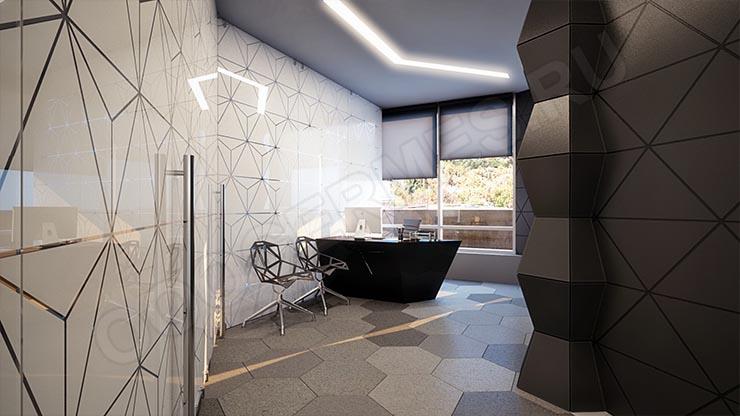 Стеклянная стена и дверь в офисе в стиле хай-тек
