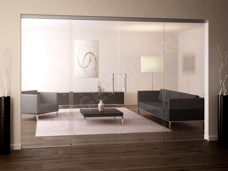 Межкомнатная перегородка из прозрачного стекла с раздвижными дверями