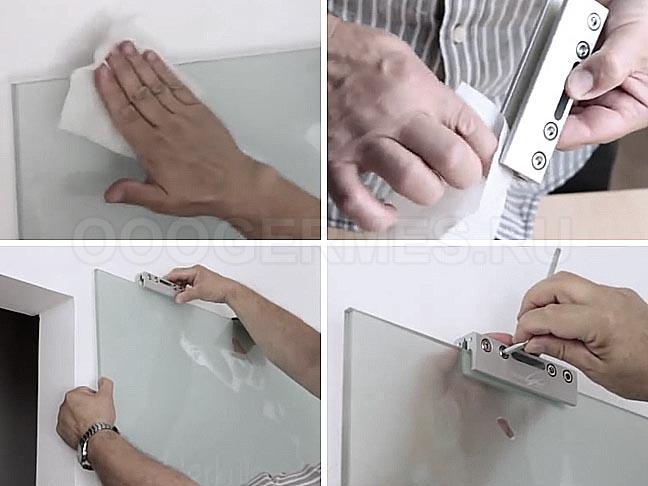 Так зажимы прикрепляются к стеклу