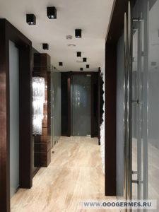 Цельностеклянные двери в коридоре