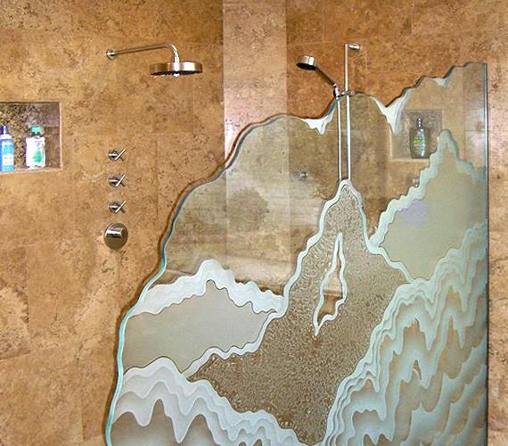 Перегородка с пескоструйным рисунком