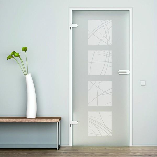 Стеклянная распашная дверь в алюминиевой коробке