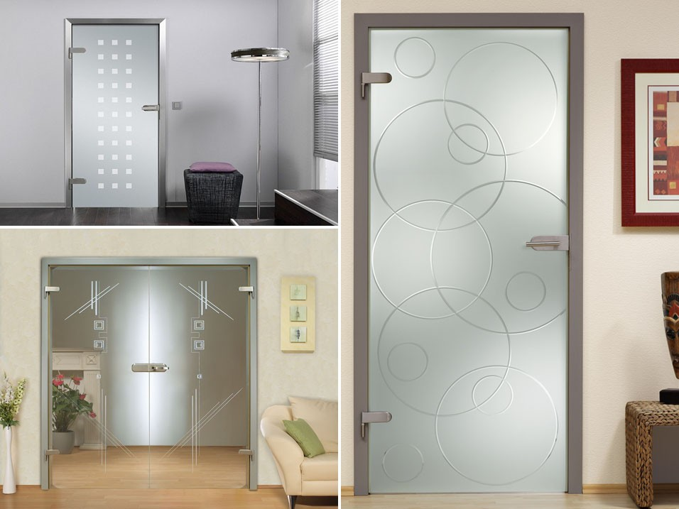 Стеклянные распашные двери в интерьере