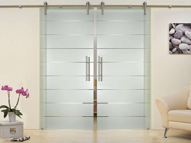 Стеклянная раздвижная дверь с открытым механизмом