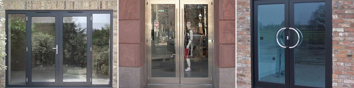 Алюминиевые крашеные двери со стеклом