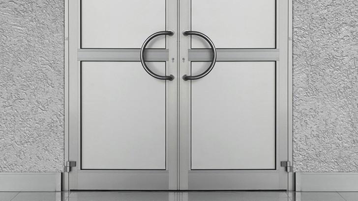 Входные стеклянные двери в алюминиевом профиле