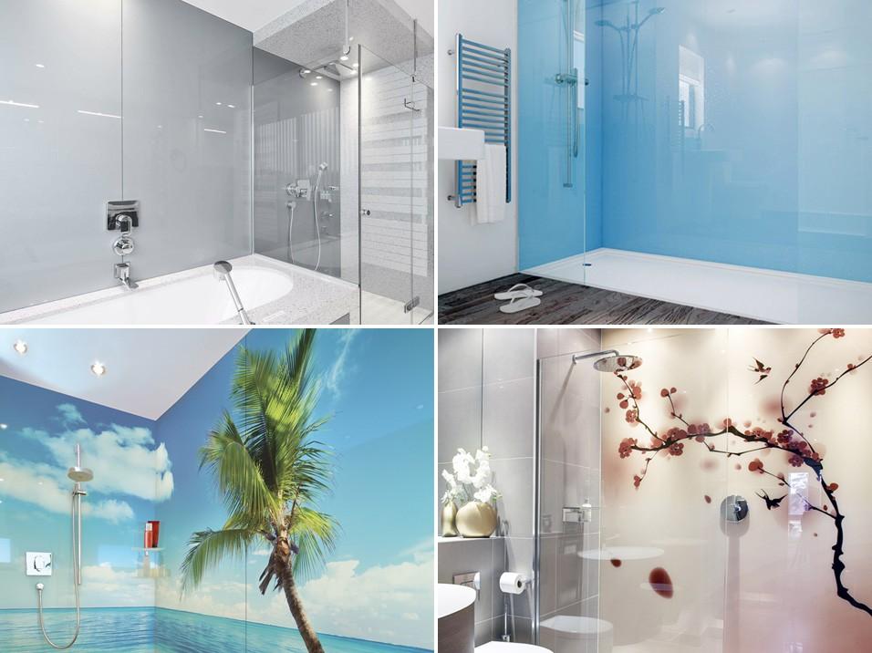 Стеклянные облицовочные панели в ванной комнате и душевых
