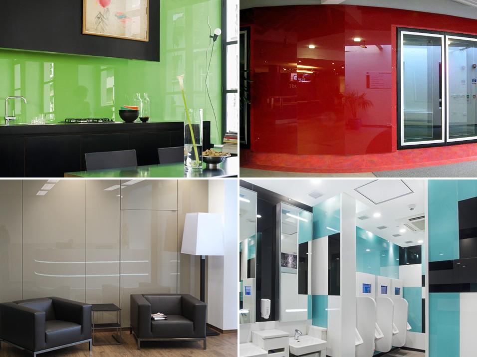 Облицовка стен стеклянными панелями