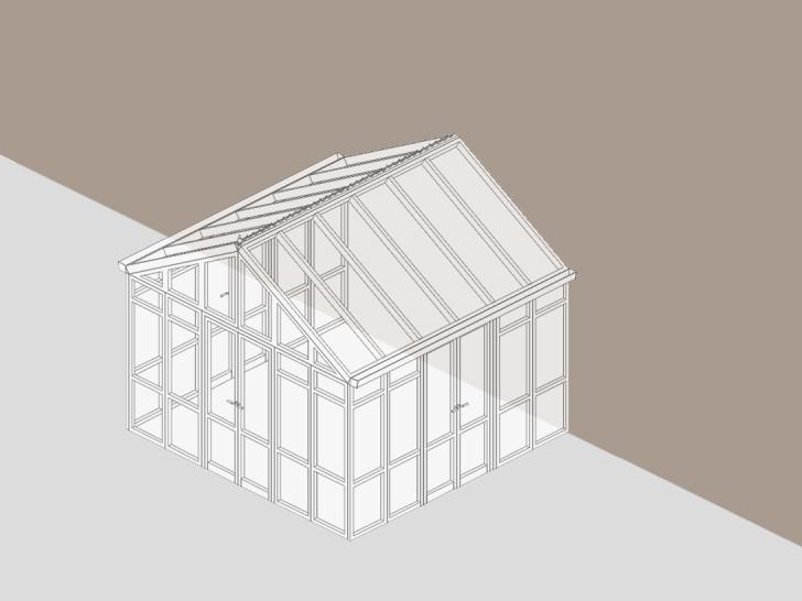 Зимний сад с двухскатной крышей