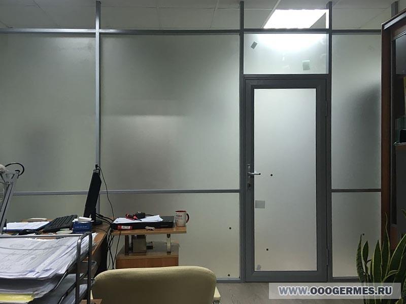 Каркасная стеклянная стена с дверью