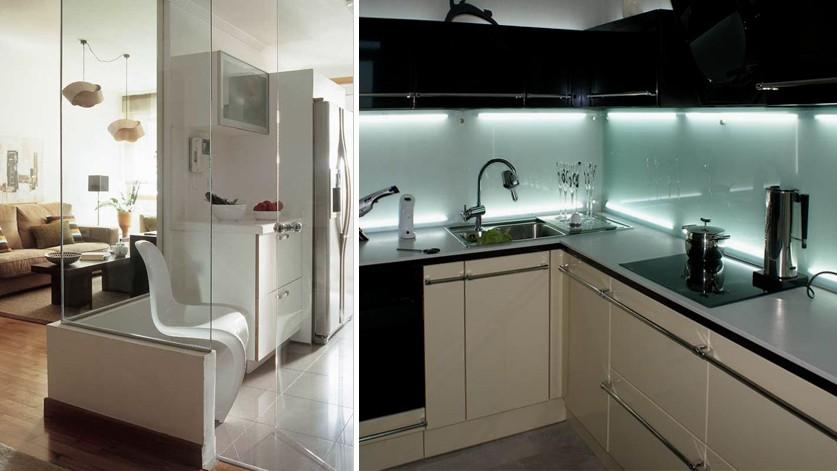 Остекление интерьеров кухни - перегородки и облицовка