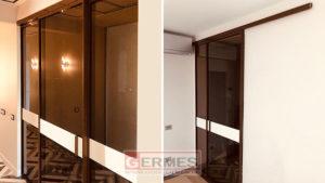 Откатные двери в алюминиевом контуре с боковыми экранами