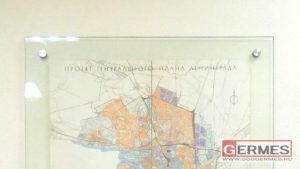 Стенд для оригинала проекта генплана Ленинграда за 1964 год